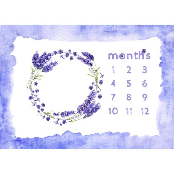 Bleu Aquarelle Bord Bébé Nouveau-né Calendrier Photographie Décors Imprimé Pourpre Lavande Floral Guirlande Enfants Anniversaire Séance Photo Fond