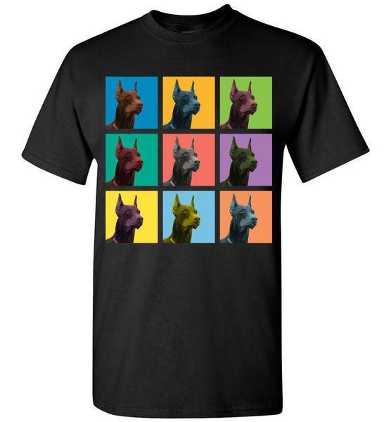 Doberman Pinscher Dog Pop-Blocks T-Shirt - Men Women Youth Tank Long Sleeve Tee