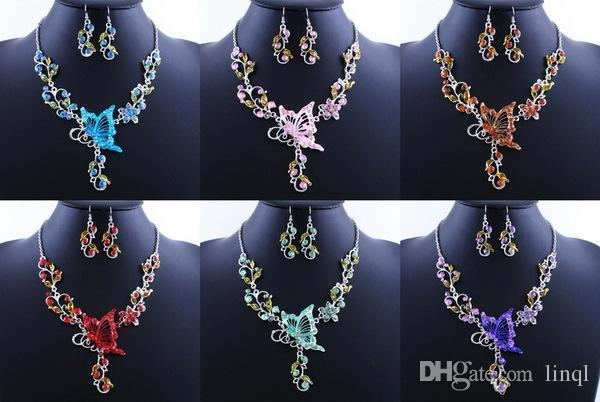 6 Colors New Fashion Bridal Necklace Set Vintage Butterfly Necklace Ethnic Butterfly Pendant Free Ship NAE04