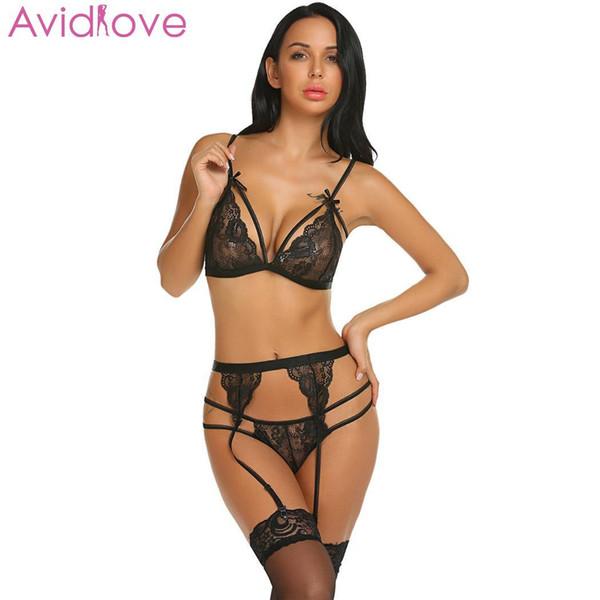 Avidlove nightwear belt lingerie set floral com sexy lace neck mulheres meias erótico feminino sleepwear pijama das mulheres s18101509