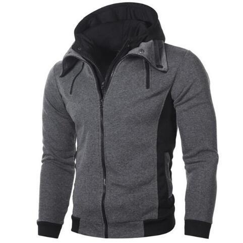 Novo 2018 Outono / Inverno Casual Hoodies Dos Homens Camisolas Slim Fit Masculino Moletons Dupla Zipper Moda Homem Ao Ar Livre Com Capuz XXXL