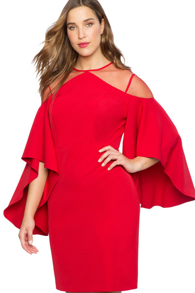 Autumn 2018 Party Black Red Mesh Illusion Cold Shoulder Bell Sleeve Plus Size Dresses Women Clothing Vestidos