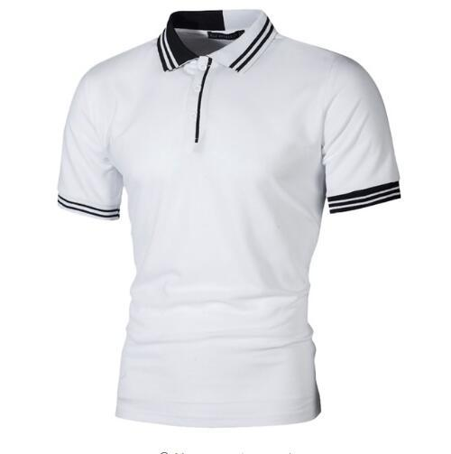 New Men Polo Shirt Men Business Casual Pactwork Male Polo Shirt Gray White Short Sleeve Breathable Shirt Men