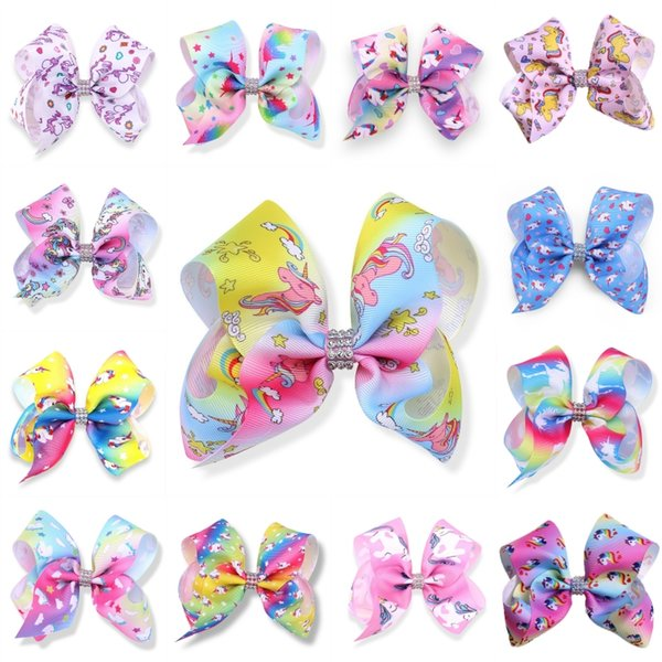 Free DHL 20 Styles Baby Girl Big Hair Bow Clips JOJO Boutique Colorful Unicorn Barrettes Bowknot Hair Clip For Kids Children Gifts H964R