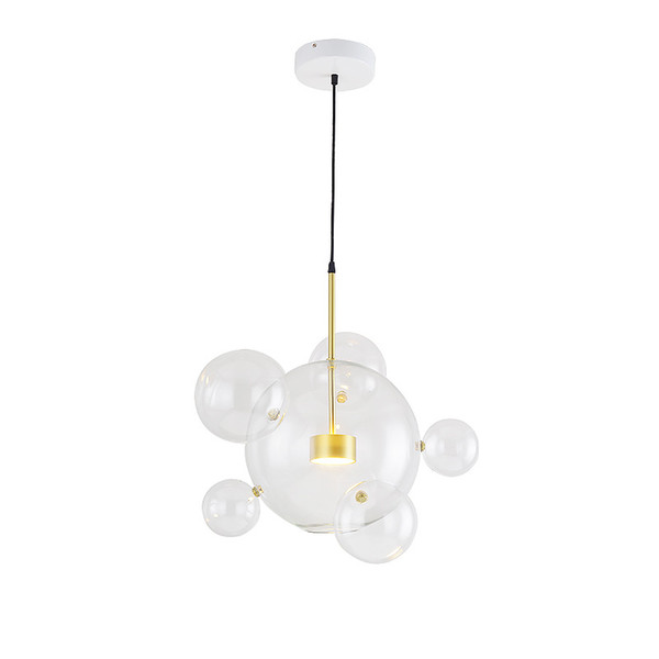 Modern Clear Glass Led Lámpara Colgante Jabón Burbuja Bola Accesorios Iluminación Interior Lustre luminaria Lámpara Colgante 110-240V