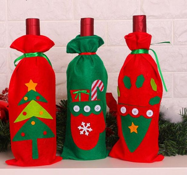 3x Santa Claus Gift Bags Christmas Wine Bottle Cover Xmas Dinner Party Table Decorations Christmas Color Random