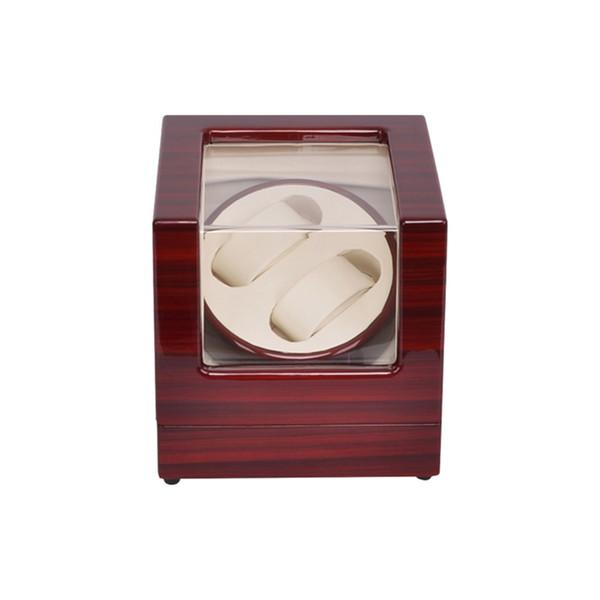 Watch Winder, LT Rotación automática de madera 2 + 0 Watch Winder Caja de presentación de la caja de almacenamiento (exterior es de color rosa y el interior es de color blanco)