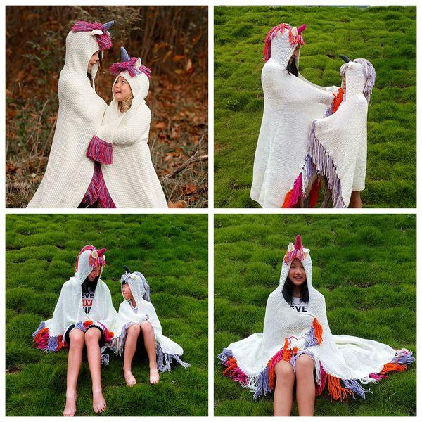 Cartoon Unicorn Knitting Tassels Capes 90*120cm 5 Colors Hooded Children Poncho Baby Girls Autumn Outerwear LJJO5780