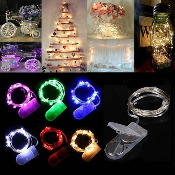 top popular 2M 20LEDs LED Lamp String CR2032 Button Battery Operated LED Lights Copper Wire String Light Christmas Halloween Decoration Wedding Party 2019