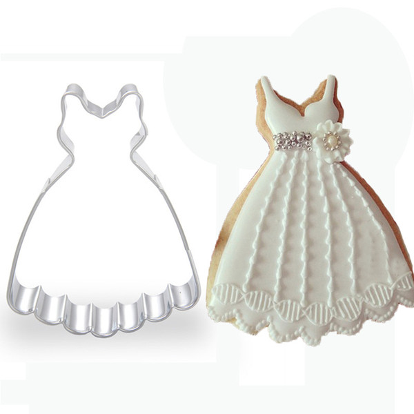 1pcs wedding party dress Cookie Cutter Mold Metal Fondant Cake Biscuit Mould Cupcake Kitchen Tool gateau patisserie