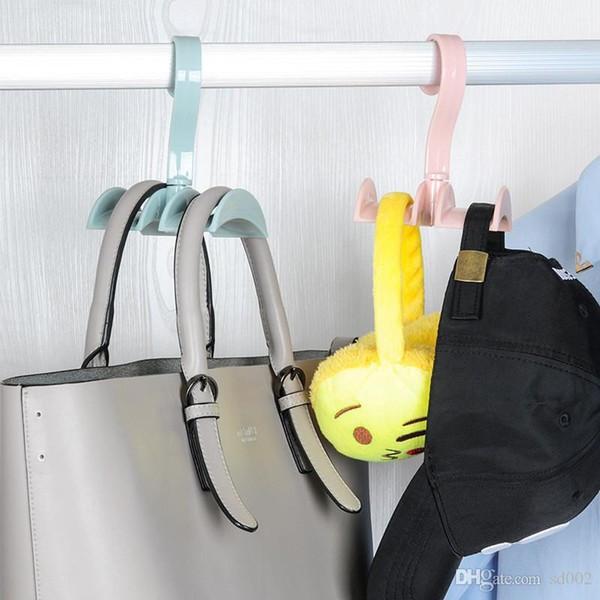 Kunststoff Doppelhängende Haken Space Saver Rotierenden Tuch Krawatten Taschen Lagerregal Tragbare Für Home Office Pothook Farbe 1 68xm B