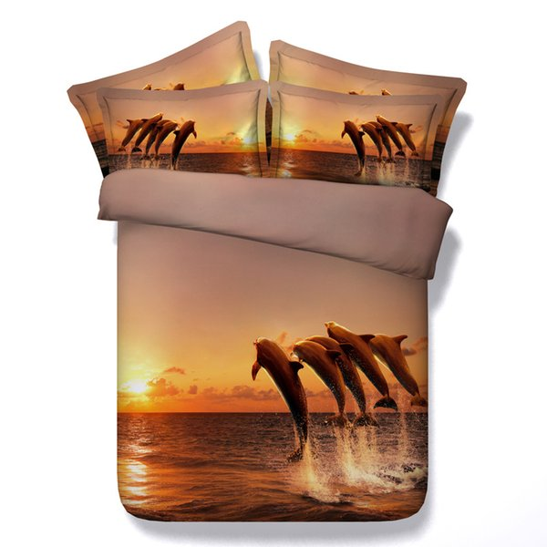 3D jumping dolphins bedding sets queen christmas sunset duvet cover single twin king cal king size orange bedspreads ocean theme pillow sham