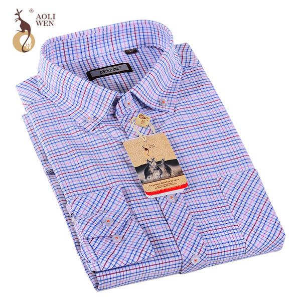Aoliwen Mens Shirts Fashion 2017 Autumn Winter Slim Fit Plaid Shirt Checkered Blouse Casual Camisa Social Masculina Plus Size