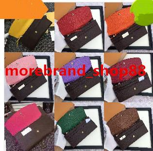 best selling Wholesale women lady long wallet multicolor designer coin purse Card holder with box women classic zipper pocket