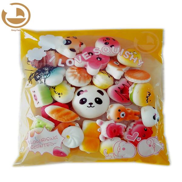 30 teile / paket Squishies Langsam Steigendes Squishy zufällige süßigkeiten eis kuchen brot Erdbeerbrot Charme Phone Straps Weiche Frucht Kinder Spielzeug