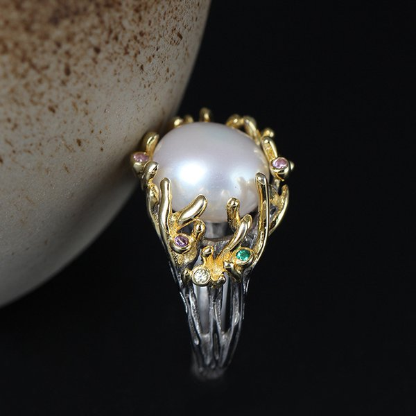 Charm fashion jewelry fine 925 Sterling silver Zircon ring Archaize style Pearl ring open china direct wholesale