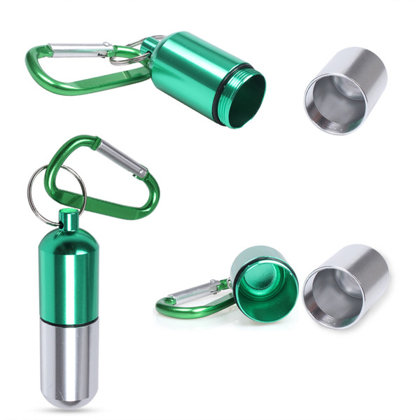 Large Waterproof Daily Aluminum Pill Organizer Box Holder Case for Outdoor Travel Keychain With Carabiner 80x20mm
