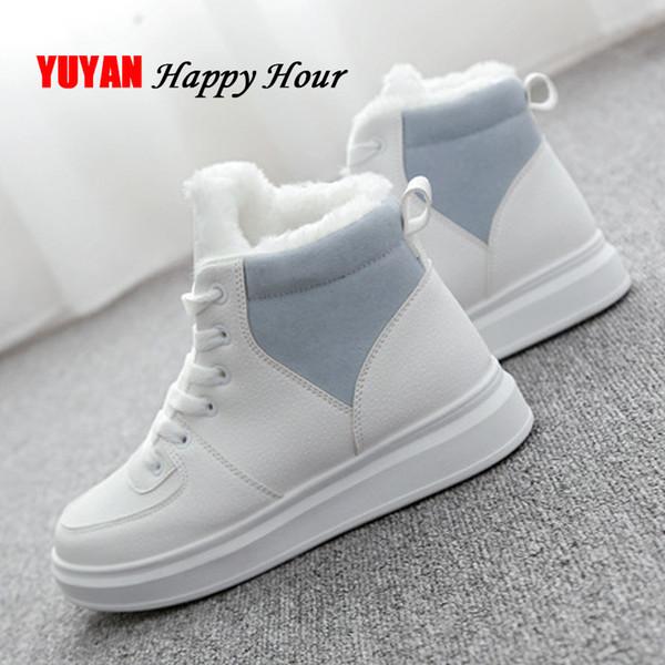 5955b7177 Sapatos de inverno Branco Mulheres Sneakers Quentes de Pelúcia para o  Inverno Sola Grossa Sapatilhas das