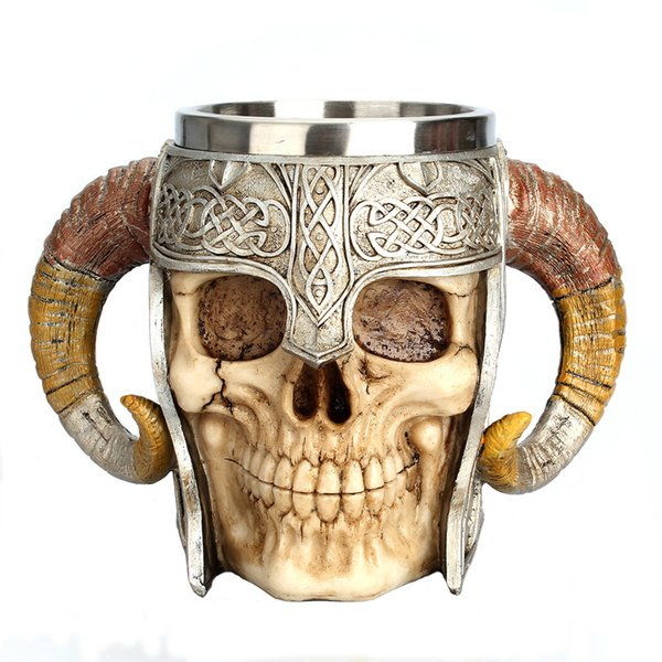 Stainless Steel Resin Double Horn Skull Ornaments Figurines Knight Helmet Cup Model Miniatures Halloween Gifts Decoration Crafts
