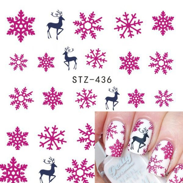 Christmas New Year Nail Art Decor NEW 1 Sheet Christmas Snowflake Nail Art Water Transfer Decals Manicure Stickers Tips