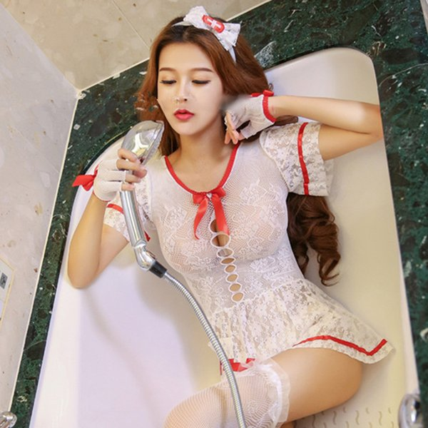 GOYHOZMI Sexy costumes nurse cosplay party clothes sex dress + headwear + stockings cosplay costumes hot women fashion Costumes C18111601