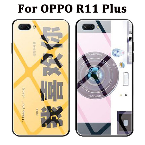 sale retailer 5649a 74ac6 Tempered Glass Painted Cases For Oppo R11 Plus Case Back Cover For Oppo  R11plus Protective Shell For Oppo R11+ Case Coque Cell Phone Cases And  Covers ...