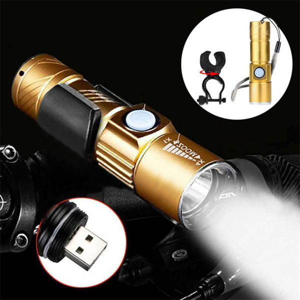 LED Bike Flashlight Cycling Front Lamp USB Rechargeable 3 Modes Zoom Waterproof Torch Bicycle Light Lamp Stand Holder