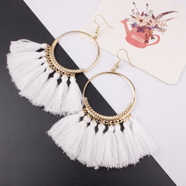 best selling Brand New 17colors Boho Fan shaped tassel earrings Korean holiday personality exaggerated Bohemia earrings jewelry earring NE892