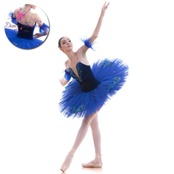 Royal Blue Velvet Bodice Pre-professionelle Ballett-Tutu-Mädchen-Frauen-Ballett-Ballettröckchen-Ballerina-Tanz kostümiert blauen Vogel