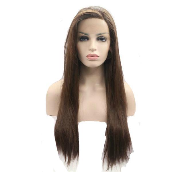 Brun clair Droite Synthétique Lace Front Perruques # 6 Longue Droite Synthétique Perruque En Dentelle Résistant À La Chaleur Fibre Synthétique Perruques Pour Les Femmes