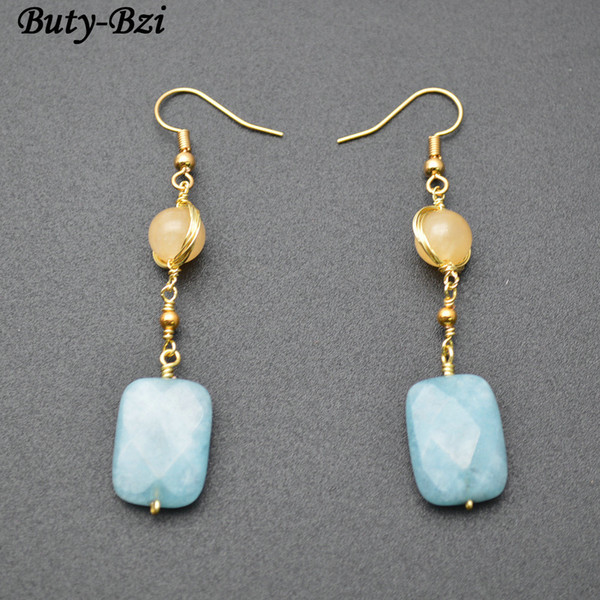 Handmade Blue Stone Square and Round Beads Dangle Earrings Fashion Party Jewelrys