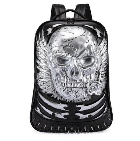 2018 Fashion mens backpack mens pu large capacity computer tablet travel backpack 3D personality student bag