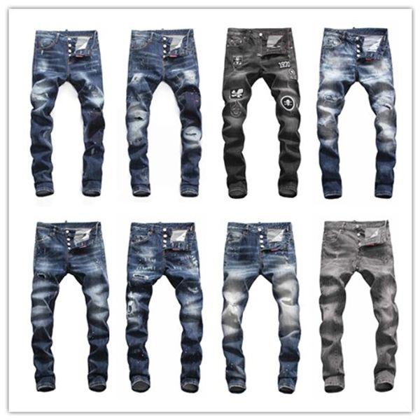 D2018 dos homens angustiado rasgado moda magro calções de grife motocicleta moto motociclista causal mens calças jeans hip hop homens d2 jeans # 8850