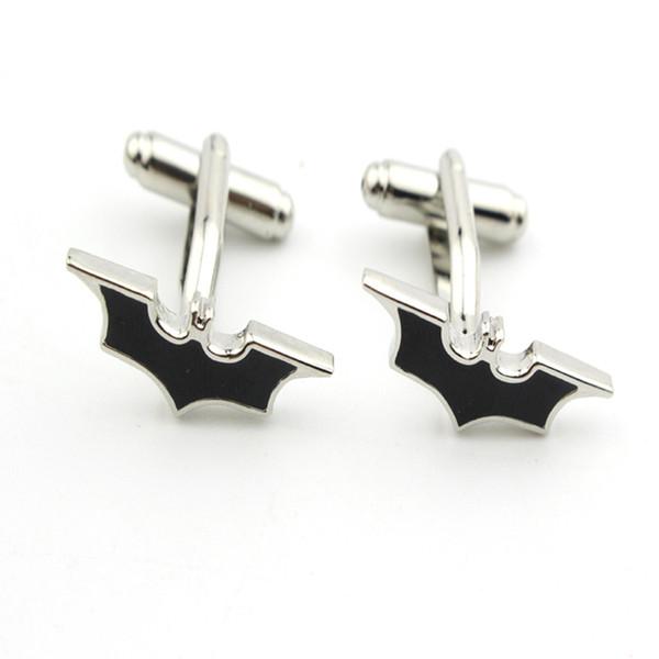Top Grade Superhero Style Simple Black Enamel Batman Logo French Cufflinks For Mens Shirt Brand Cuff Buttons Vintage Cuff Links
