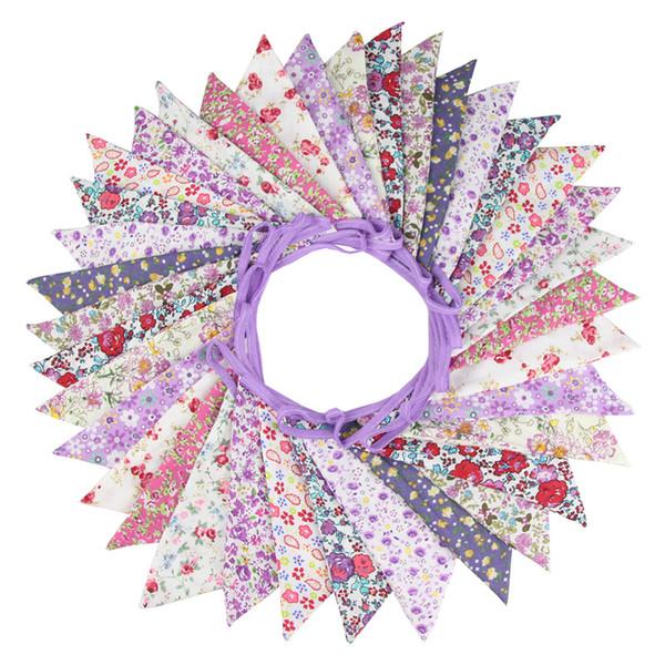 36 플래그 10m 보라색 꽃 디자인 코 튼 원단 깃발 페넌트 깃발 배너 화환 웨딩 파티 야외 DIY 홈 인테리어