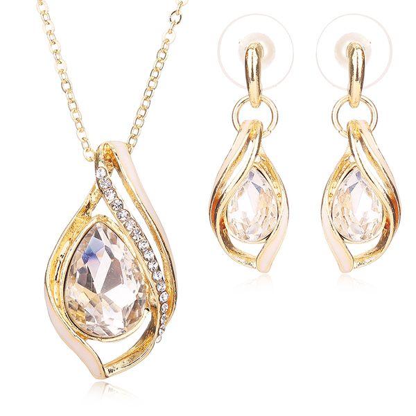 Cheap Fashion Bridal Jewelry Sets Indian Nigerian Wedding African Beads Jewelry Set Rhinestone Women Earring Necklace Set