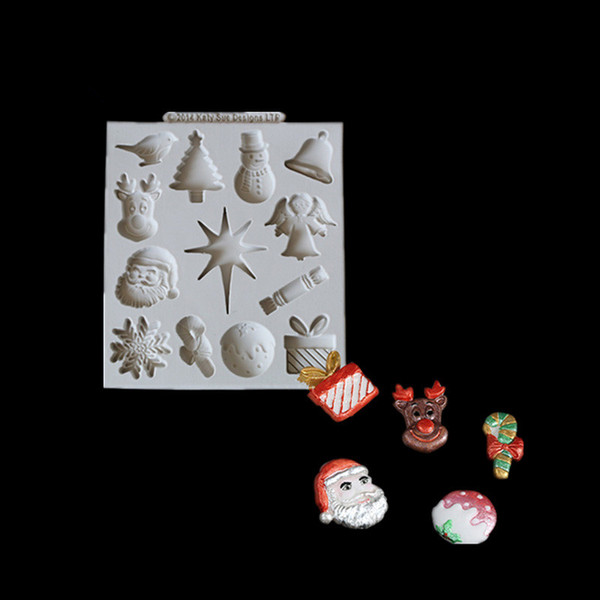 1pcs Silicone DIY Handmade Soap Mold Santa Claus Snowflake Mold Cake Moisturizing Baking cake decorating tools silicone