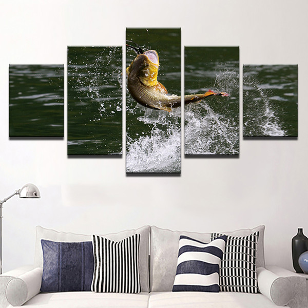 Home Decoration Canvas Abstract Wall Artwork Large Poster 5 Panel Animal Fish Framework Paintings Modern Modular Cuadros Pictures