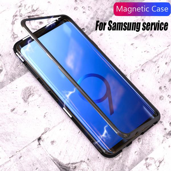Caso de inversão de adsorção magnética para samsung galaxy s9 s10 mais note9 8 s10e vidro temperado de volta caso de metal bumper para iphone xsmax xr x