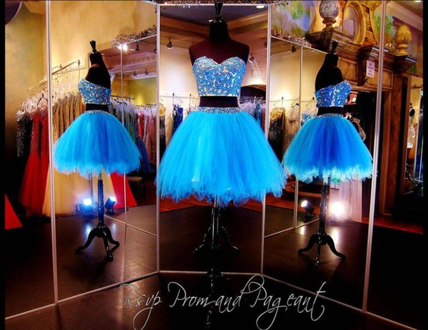 Two Pieces Knee Length Prom Dresses Tulle Sweetheart Neckline With Applique Beads Short A-line Lace Up Cocktail Evening Dresses DH1482