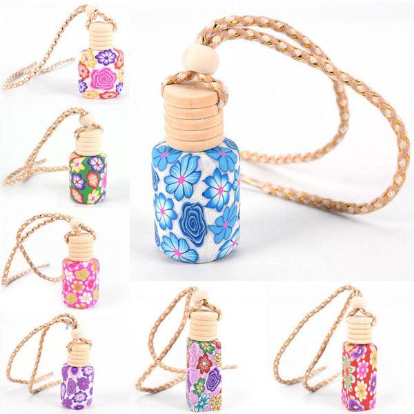 5PCS / Lot di arte floreale stampato Hanging Interno di automobile, decorazioni, accessori Deodorante diffusore del profumo di fragranza bottiglia multicolore Nuovo