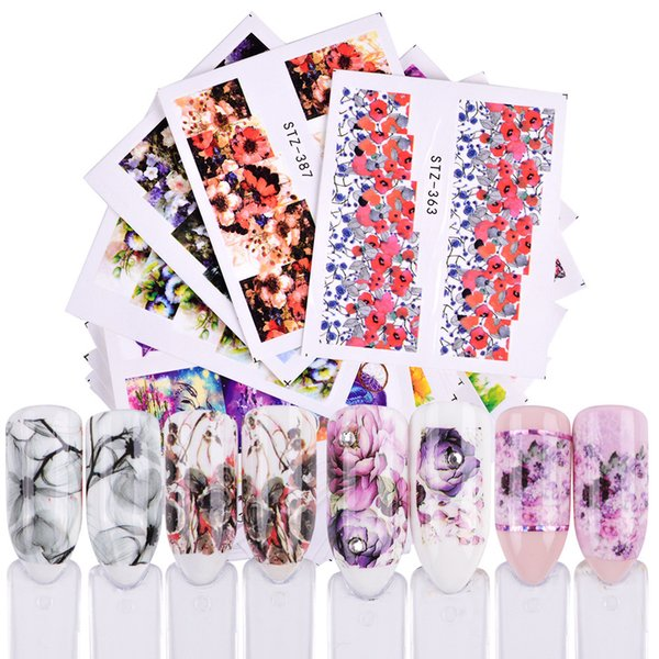 48 Sheet Random Pattern Water Transfer Nail Art Stickers Colorful Gradient Painting Natural Flowers Fashion Women Girl Manicure Decals New