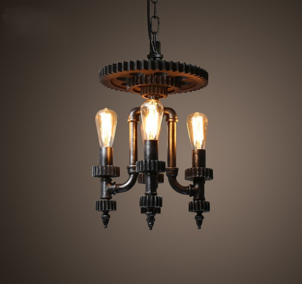 Edison Loft Style Water Pipe Droplight Creative Wood Gear Retro Pendant Light Fixtures Hanging Lamp Vintage Industrial Lighting LLFA