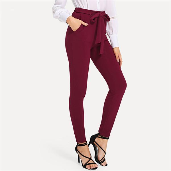 Burgundy Elegant Self Tie Solid Skinny Knot Elastic Mid Waist Pants Spring Fall Women Weekend Casual Trousers