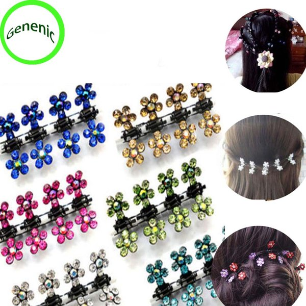 30f# 12 Pc/Set Baby Kid Child Crystal Flower Mini Barrettes Hair Claw Clamp Hair Clip Pin Accessories New