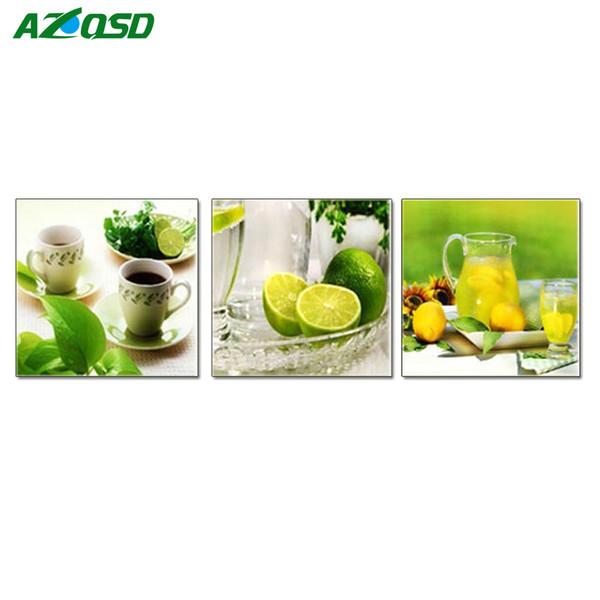 AZQSD Completa Pintura Diamante Ponto Cruz Quadrado Diamante Bordado Com Imagem 5D Lemon Cup Cozinha Decoração DIY Mosaico Bordado C18111701