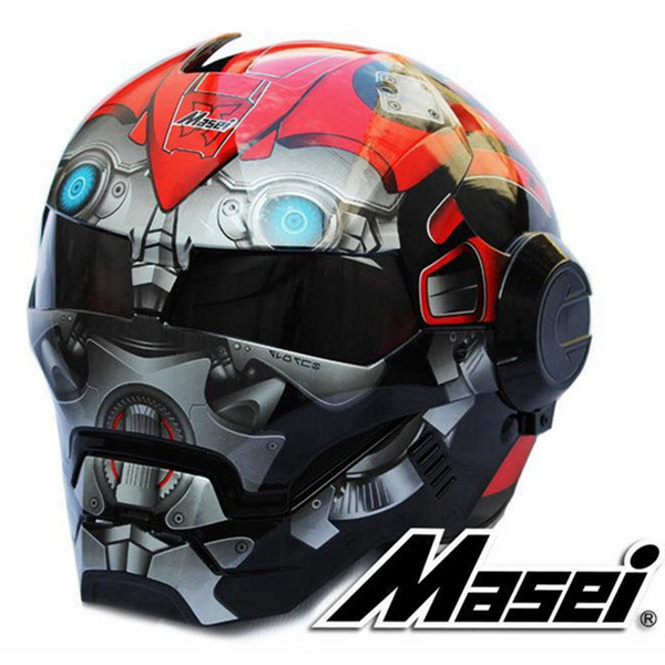 2018 Bumblebee rosso / nero / giallo MASEI 610 IRONMAN Iron Man casco moto mezzo casco casco viso aperto casque motocross