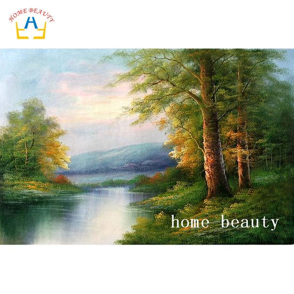 3D diy diamond painting cross-stitch kits full drill resin embroidery with diamond home decoration river forest pictures AC336
