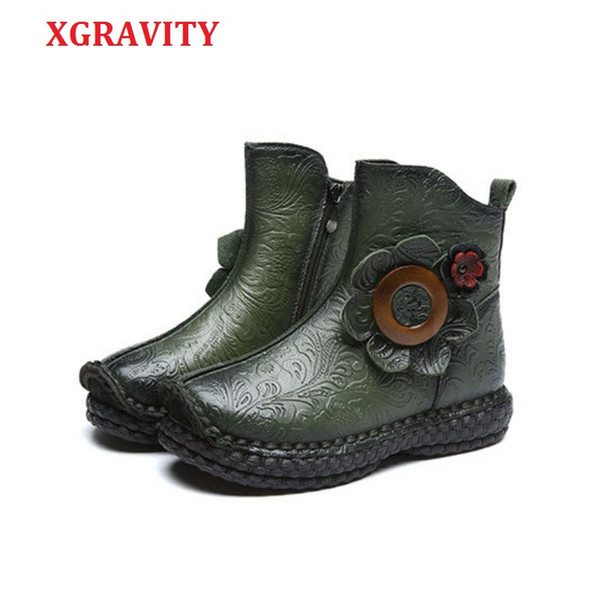 wholesale New Fashion Ankle Boots Elegant Genuine Leather FLower Design Short Boots Fashion Casual Round Toe Shoes Girl Shoe C294