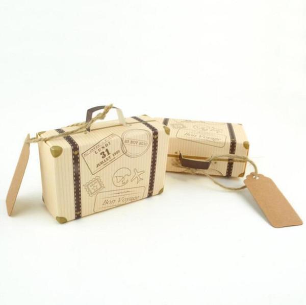 Kraft Paper Vintage Mini valigetta Candy Chocolate Scatole Dolci Borse per bomboniera Bomboniere LX3408